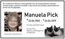 Traueranzeige Manuela Pick